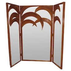 Vivai Del Sud Mirrored Bamboo Palm Tree Folding Screen