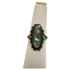 Vintage Sterling Silver and Abalone Artisan Statement Ring with Delicate Details