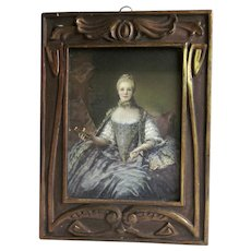 Antique Art Nouveau Wood Frame with Print of Madame Adelaide of France as Painted by Jean-Marc Nattier Original Marshall Fields Label