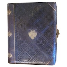 Victorian Leather bound Photo Album with Gold page edging and Cartouche Wedding or Family Album