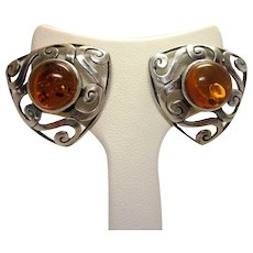 Vintage Swirled Openwork Sterling Silver Triangle Cutout Earrings with Stunning Natural Amber Center Settings