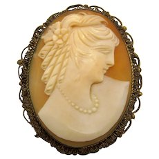 Antique Victorian Carved Shell Cameo Pendant in Sterling Wirework Setting
