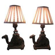 Pair of Vintage Art Deco Cast Iron Kneeling Camel Boudoir Vanity or Parlor Lamps