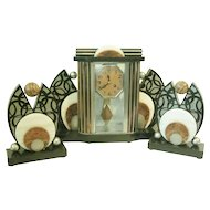 French Art Deco Clock Three Piece Garniture Set