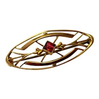 Delicate and Feminine 10K Estate Yellow Gold Art Nouveau Pin with Ruby Red Square Glass Stone