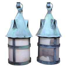 Pair of Antique 1910s Arts and Crafts Era Mission Style Verdigris Patina Interior/Exterior Lantern Sconces With Glass Panes and Modern Wiring