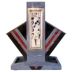 Rare Art Deco Marble French-Made Webb C. Ball Company Desk Clock with Hand Painted Crushed Shell Face and Storage Compartments