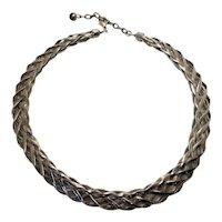 Vintage Modernist Sterling Silver Basketweave Statement Braided Textured Collar Necklace