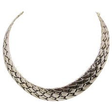 Vintage Minimalist Style Mexican Artisan Sterling Silver Basketweave Motif Collar Necklace