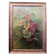 1920s Oil on Canvas Framed Still Life of Red and Yellow Nasturtium Flower Blossom Bouquet and Buzzing Honey Bee