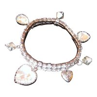 Betsy Johnson Charm Bracelet with faceted crystals and Heart Charms