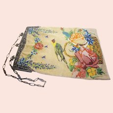 pending sale! Antique 1910s-20s Colorful Micro Bead Bird and Floral Motif Purse Evening Bag with Cherubic Art Nouveau Silver Metal Frame & Chain Handle