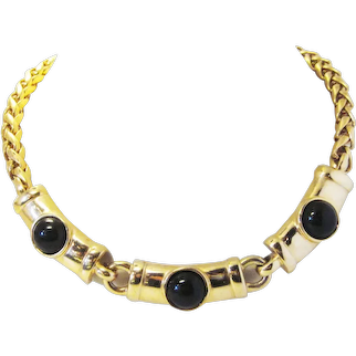 Vintage 1980s Chunky Gold Tone Etruscan Style Linked Necklace with Black Lucite Faux Onyx Cabochons and Chunky Chain Statement Necklace