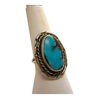 Vintage Sterling Silver Ring Native American Artisan Turquoise with Amazing Black Veining
