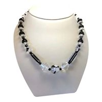True Vintage Art Deco Black and White Glass Bead Faceted Geometric Fun Flapper Girl Vintage Choker Necklace