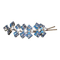Vintage Blue Rhinestone Leaf Brooch in Silver Tone Metal