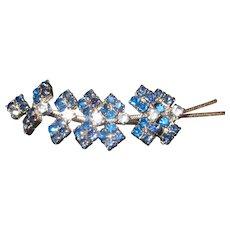 Vintage Blue Rhinestone Leaf Brooch in Silver Tone Metal