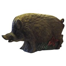 Vintage Cast Iron Wild Boar Bank, Hedgehog, Hog, Pig Bank- With Green Grass and Red Flowers and a curly tail