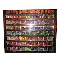 """Antique """"Nun's Boilfast"""" Thread and Embroidery Floss Wood and Glass 7-Drawer Spool Cabinet Mercantile Display Case"""
