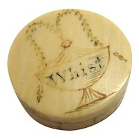 Mid 1800s Carved Bone Whist Game Counter Set