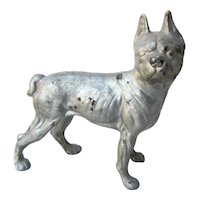 True Vintage 1930s Cast Iron Boston Terrier Dog Figure Doorstop Collectible Silver Painted Finish Hubley Style Art Deco Home Decor