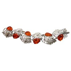Vintage 1960s Fall Leaves Bright Orange Faceted Pear Shaped Teardrop Rhinestone Large Mid Century Statement Cocktail Linked Panel Bracelet