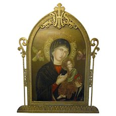 "1920s Byzantine ""Our Lady of Perpetual Help"" Gold Gilt Miniature Framed Print with IHS Christograph Shepherd's Staff & Sacred Heart Details"