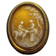 Antique Victorian Rare Village Scene Miniature Cameo Pin Brooch Carved Shell Rural Figural Scene
