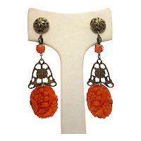 Antique Victorian Coral Pink-Orange Molded Celluloid Earrings with Brass-Tone Openwork Metal Detail and Gorgeous Floral Motif