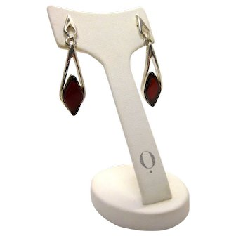 Polish Sterling Silver and Faceted Red Cherry Baltic Amber Simple Cutout Statement Drop Earrings