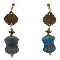 Vintage Gold Tone Handmade Blue Glass Bead Chinese Character Drop Earrings