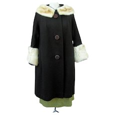 Vintage Late 1950s Chocolate Brown Swing Coat Rabbit Fur Trim Oversize Mod Buttons Midcentury Mad Men Style Winter Coat