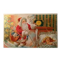 Antique Christmas Postcard Santa with toys and little girl