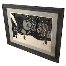 "1970 Kiyoshi Saito Original Japanese Woodblock Print ""Winter in Aizu"""