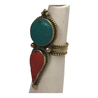 Vintage Brass Turquoise and Coral Ring