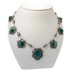 Vintage Early Mexican Sterling Silver c. 1940s Green Chrysoprase Domed Cut Cabochon Linked Necklace with Gorgeous Filigree Details