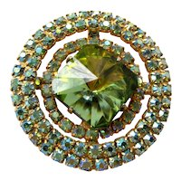 Vintage Midcentury Juliana Heliotrope Margarita Rivoli Glass Circular Rhinestone Brooch with Gold Tone Backing