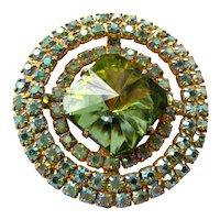 Vintage Midcentury Juliana Heliotrope Margarita Rivoli Glass Circular Rhinestone Brooch with Gold Tone Backing