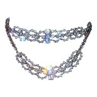 Vintage 1950's Stunning Bridal Bib Collar Waterfall Choker Necklace