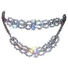 Vintage 1950's Stunning Bridal Bib Collar Waterfall Choker Necklace