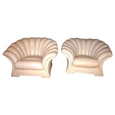 Vintage French Art Deco Channel Back Clamshell Leather Lounge Parlor or Boudoir Cloud Chairs