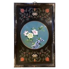True Vintage 1920s Asian Cloisonne Wood Panel Wall Hanging with Black Painted Background & Luscious Teal Vignette of Flowers and Birds
