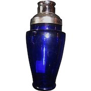 Vintage Cobalt Blue Glass and Chrome Martini/Cocktail Shaker/Drinkware/Martiniware/Barware