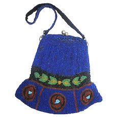 Vintage Early 20th Century c. 1920s Art Deco Style Flapper Hand-Beaded Cobalt Blue, Kelly Green, and Scarlet Red Glass Bead Silk Lined Purse