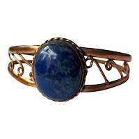 Vintage Mid Century Copper and Lapis Blue Stone Cuff Bracelet with Swirled Openwork Split Shank Detail