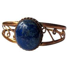 Vintage Mid Century Copper and Lapis Blue Stone Cuff Bracelet with Swirled Openwork Split Shank Detail