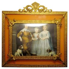 1920s Ornate Art Nouveau Floral Gold Gilt Miniature Framed Print with Coral Pink Orange Border 17th-18th Cent. Children Portrait with Dogs