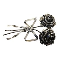 Vintage Sterling Silver 1940s Coro Rose Stem Floral Spray Corsage Brooch with Ribbon Detail