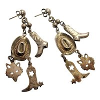 Vintage Artisan Sterling Silver Cowgirl Western Theme Dangle Charm Earrings With Spurred Boots, Wolf Faces, and Cowgirl Stetson Hats
