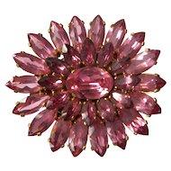 Vintage Pink Czechoslovakian Rhinestone Sun Brooch-Signed Czech